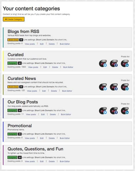 SocialBee Categories
