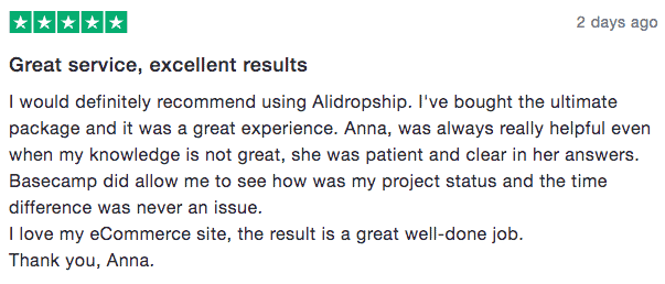 Alidropship customer rating