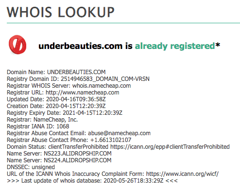 WHOIS Lookup of dropshipping site