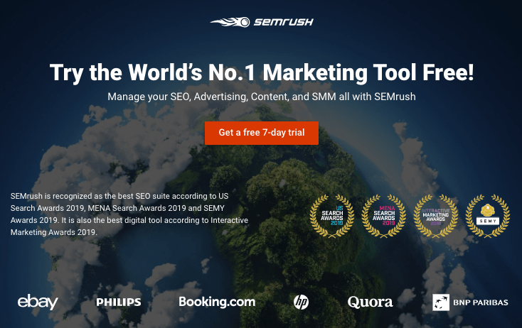 7-Day Free Trial on Semrush website