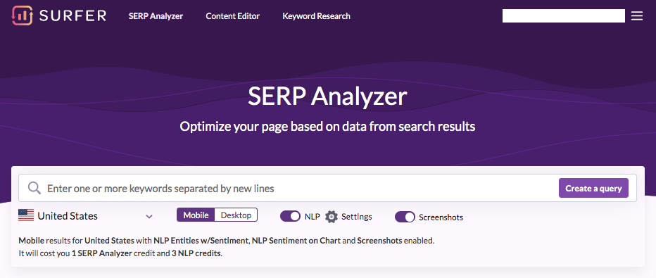 Surfer Serp analyzer