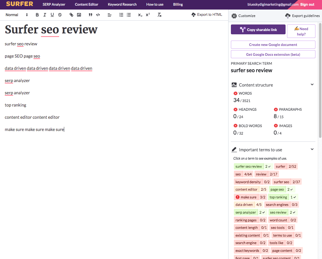 Content editor interface